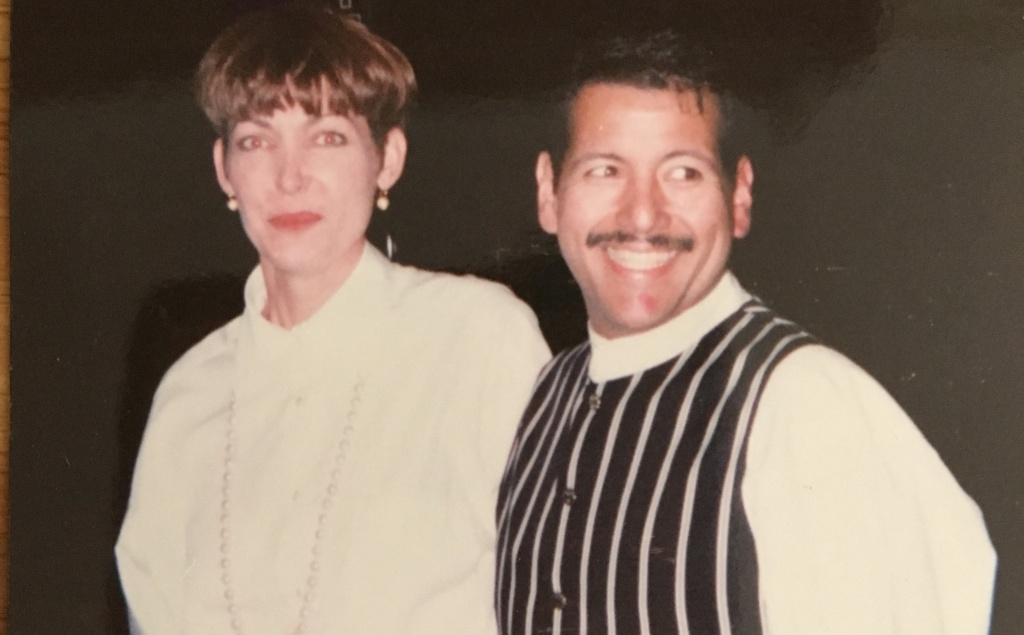 KPCC listener Vivienne Elliott (L) and her late friend Fred at a company dinner in November 1993.