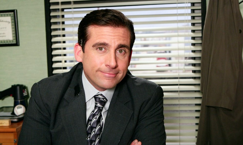 A still of Michael Scott (played by Steve Carell) from the NBC show
