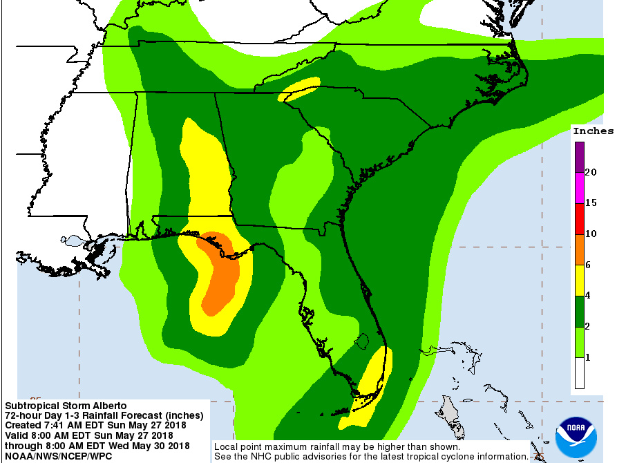 This graphic, created by the National Weather Service, shows rainfall potential in the U.S. gulf region expected from Subtropical Storm Alberto.