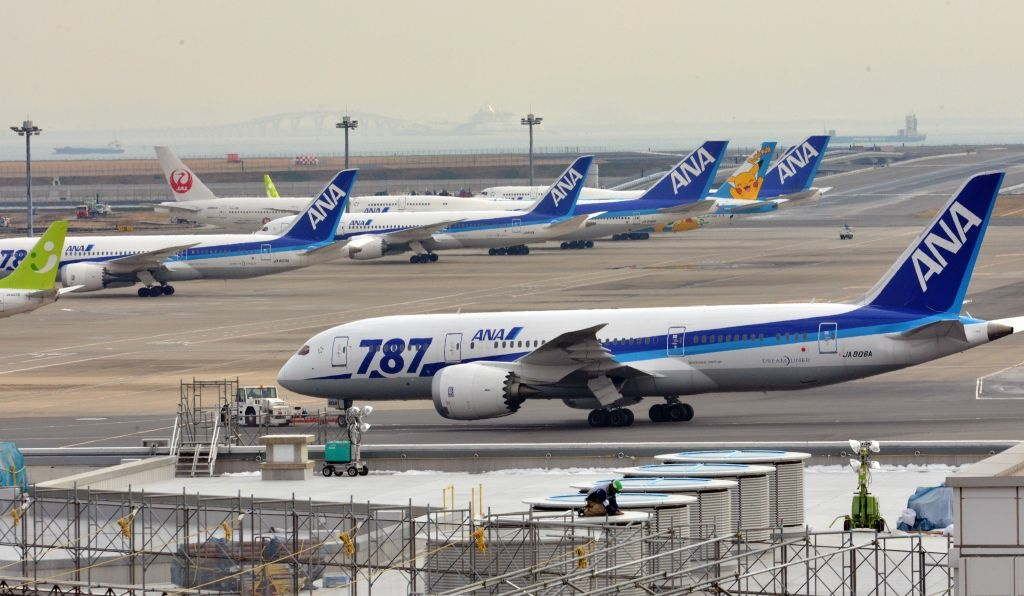 Boeing 787 dreamliners are grounded in Tokyo's Haneda airport on January 16, 2013 after a ANA Dreamliner passenger plane made an emergency landing in western Japan.