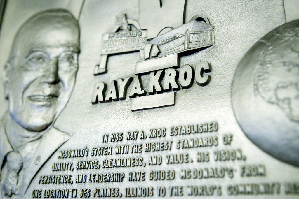 A plaque to Ray Kroc, the founder of McDonald's, hangs in one of the chain fast food restaurants locations January 20, 2004 in Washington, DC.