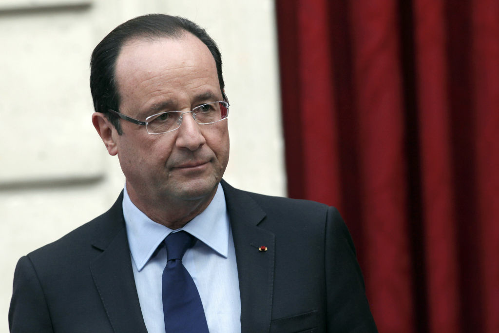 France's President Francois Hollande arrives to deliver a speech on December 21, 2012 at the Elysee Palace, in Paris.