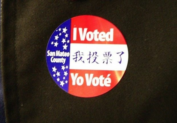 A voter sticker in San Mateo County, Calif., November 2005