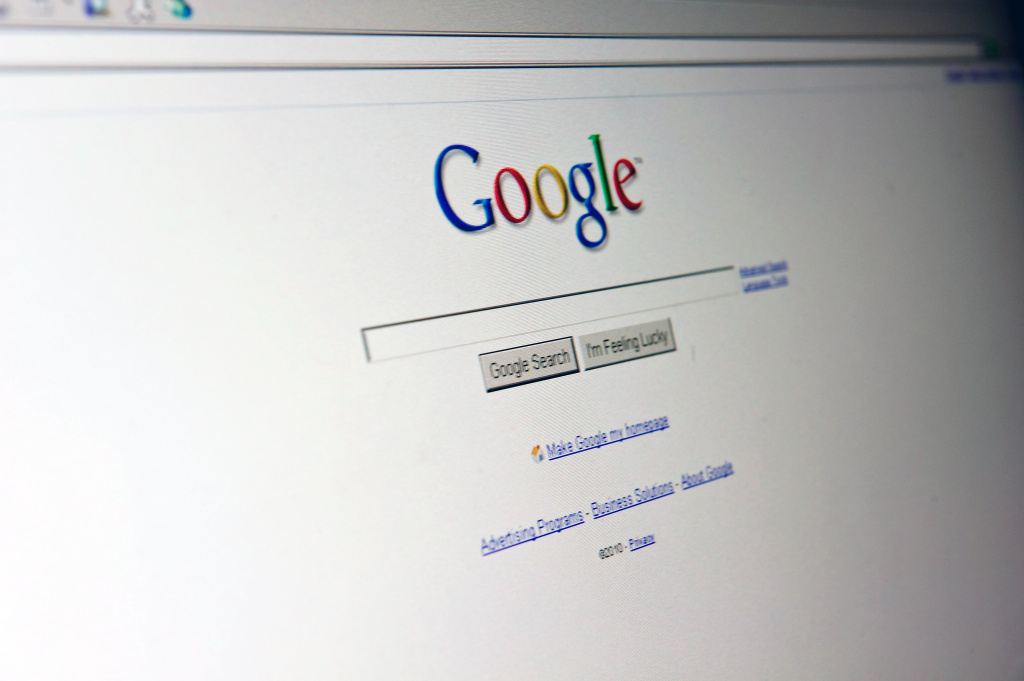 The Google search page appears on a computer screen in Washington on August 30, 2010.