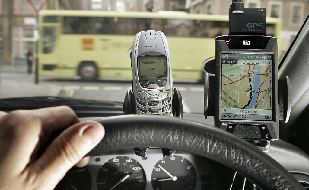 In car navigation and telephone dashboard mounted devices on February 15, 2005, London, England.