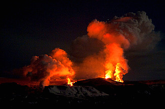 The Fimmvorduhals volcano near the Eyjafjallajokull glacier in Iceland