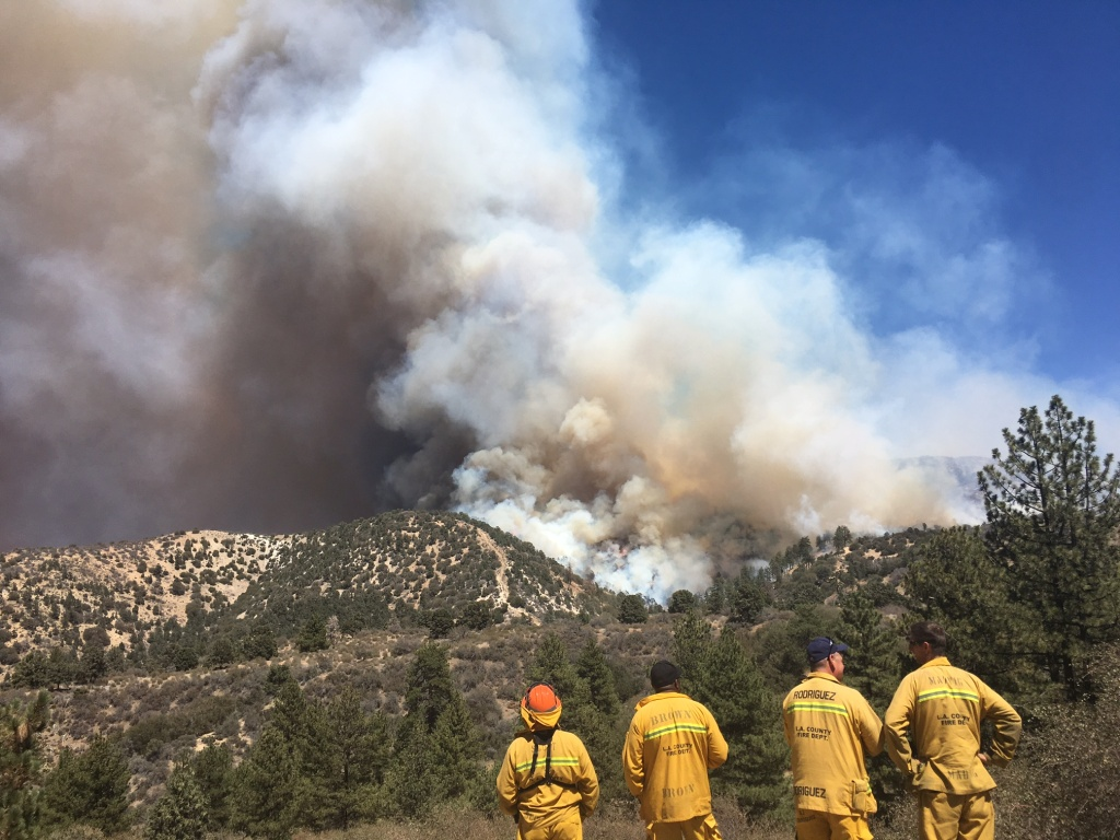 The Blue Cut Fire was heading towards the community of Wrightwood Tuesday afternoon.