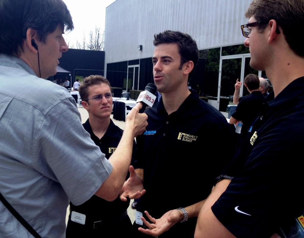 Off-Ramp host John Rabe with Mazda drivers Elliott Skeer, Joel Miller, and Kenton Koch.