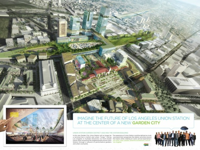 Six competing firms presented these vision boards to the public of what they imagined Union Station could look like in the year 2050. This was Gruen Associates/Grimshaw Architects', who won out. Transportation authorities insist they didn't select the contractor based on these drawings... but they're cool to look at.
