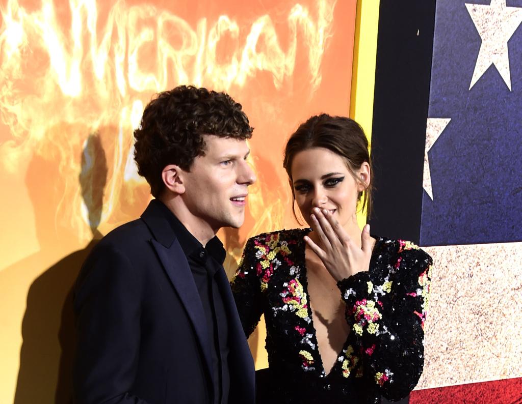 Actors Jesse Eisenberg and Kristen Stewart arrive at Lionsgate's