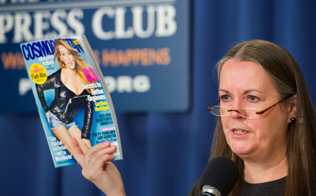 Victoria Hearst, the granddaughter of publisher William Randolph Hearst calls for Cosmopolitian Magazine to be only sold to adults and that the magazine be on sales racks in a opaque wrapper, on April 22, 2015 during a press conference at the National Press Club in Washington, DC.  She has partnered with the National Center on Sexual Exploitation (NCSE) to protect children from the alleged pornographic content of the Cosmopolitian Magazine, that ironically her extended family publishes.