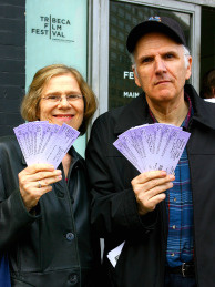 Moviegoers show their purchased tickets in New York City.