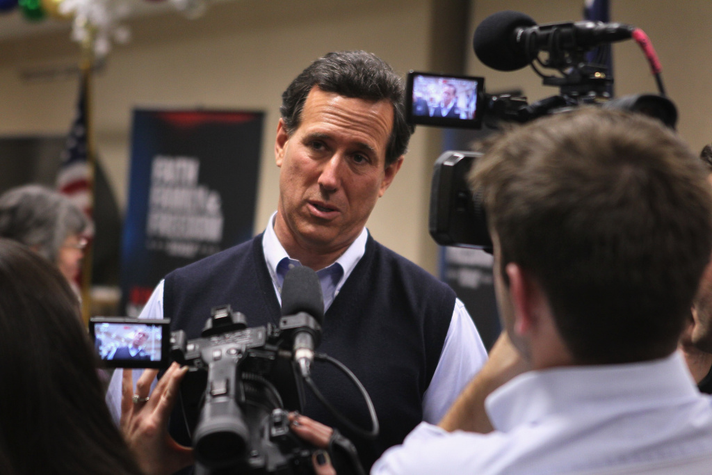 Republican presidential candidate former U.S. Senator Rick Santorum (R-PA) is interviewed following a town hall style meeting at the CASI Center for Active Seniors on December 29, 2011 in Davenport, Iowa.