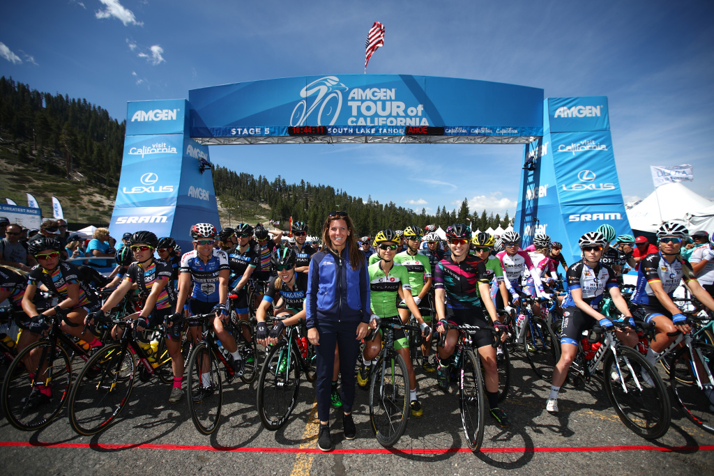 Kristin Klein, President of the Amgen Tour of California poses with the peloton prior to stage one of the Amgen Breakaway from Heart Disease Women's Race in this May 19, 2016 file photo taken in South Lake Tahoe. Women will be awarded equal prize money starting with the 2018 race.