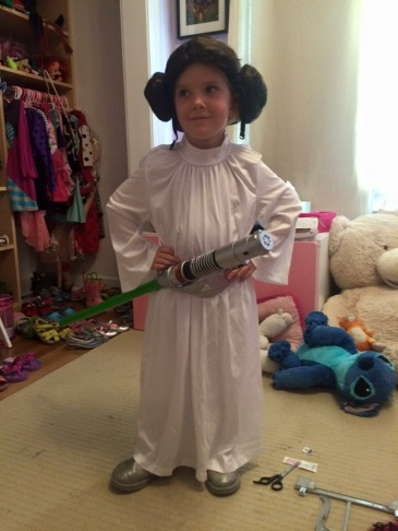 Take Two host Alex Cohen in her homemade Princess Leia costume.