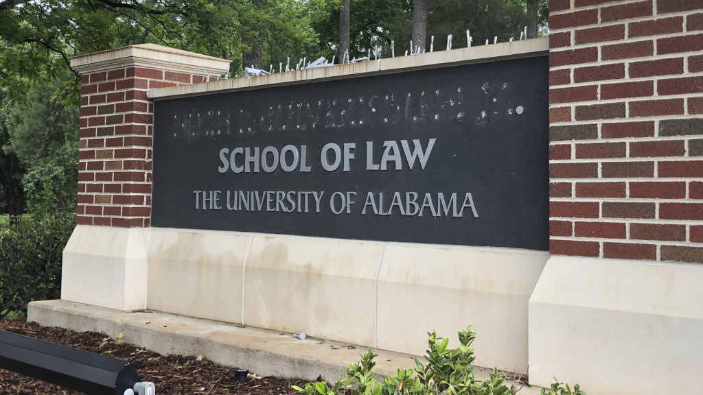 The University of Alabama's law school sign was changed on Friday after the school decided to return the largest single donation it has ever received. The move followed a dispute with donor Hugh Culverhouse Jr.