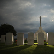 The sun sets behind the Cross of Sacrifice at Tyne Cot Commonwealth War Graves Commission Memorial  on August 2, 2014 in Passchendaele, Belgium.