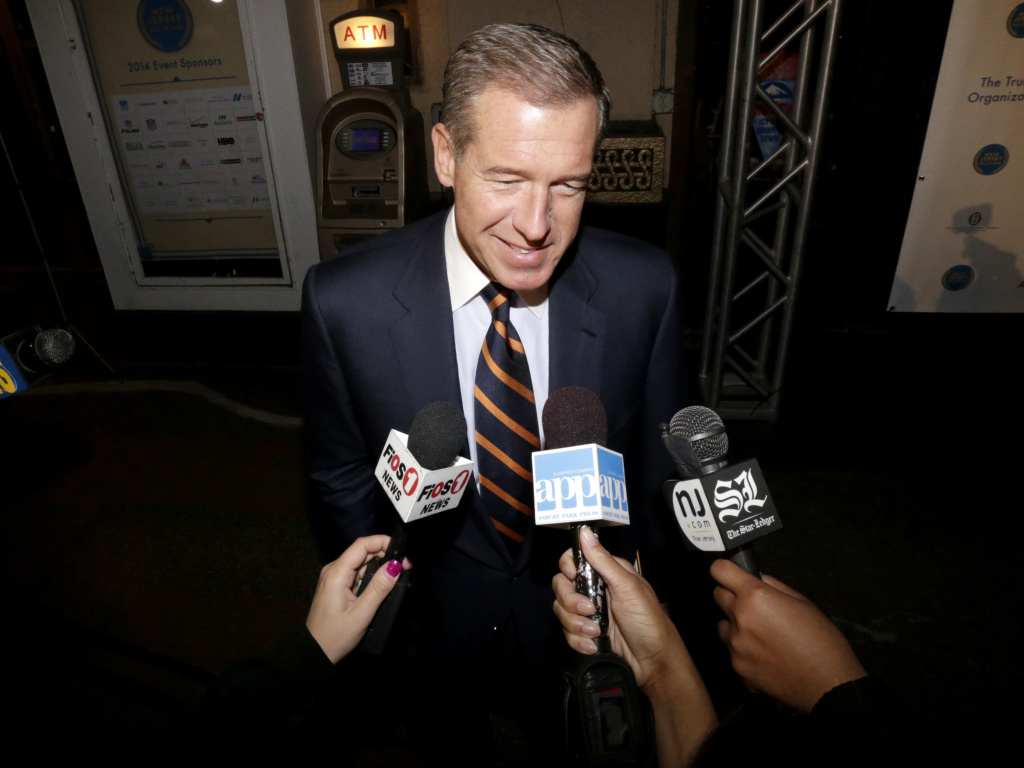 NBC's Brian Williams, seen here on Nov. 13, 2014, has apologized for incorrectly saying he was aboard a helicopter in Iraq in 2003 that was hit and forced down by enemy fire.