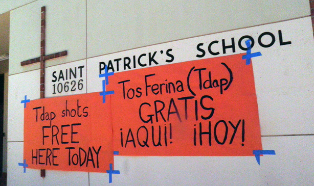 St. Patrick's Catholic School in North Hollywood offered free whooping cough booster shots to the community.