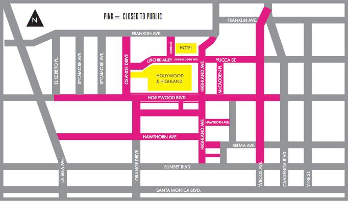 Map: Oscars street closures Feb. 22