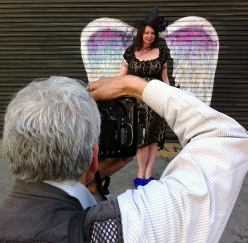 Gary Leonard photographs Lisa Derrick at Colette Miller's wings project.