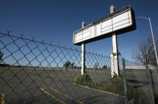 A parking lot is seen empty at an out-of-business store in Vallejo, California.