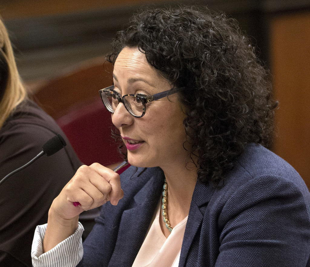 In this June 22, 2016 file photo, Assemblywoman Cristina Garcia, D- Bell Gardens, speaks at the Capitol in Sacramento, Calif. Garcia, the head of California's legislative women's caucus and a leading figure in the anti-sexual harassment movement is herself the subject of a sexual misconduct claim, Politico reported Thursday, Feb. 8, 2018.