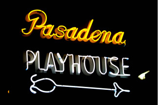A neon sign for the Pasadena Playhouse