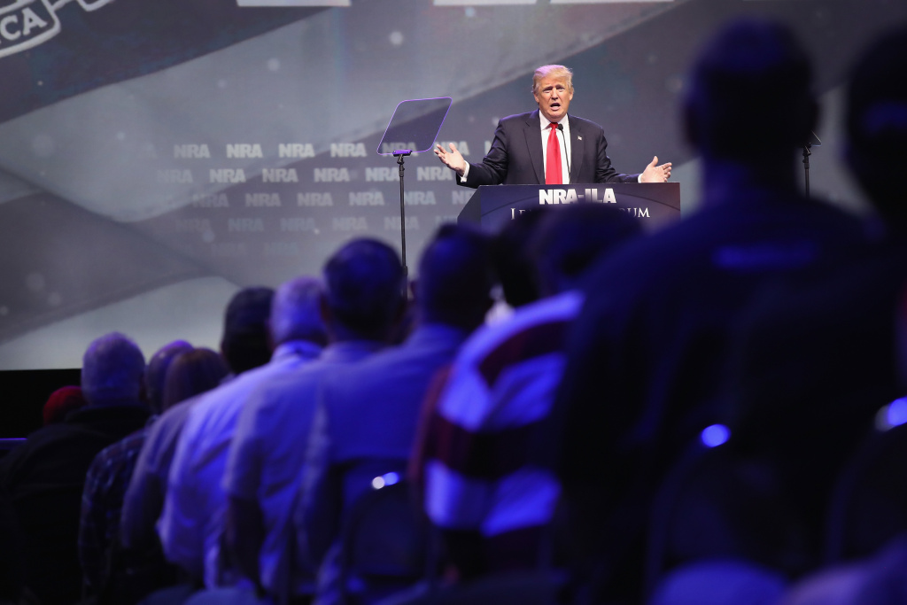 Then-presidential candidate Donald Trump speaks at the National Rifle Association's NRA-ILA Leadership Forum during the NRA Convention on May 20, 2016, in Louisville, Ky.