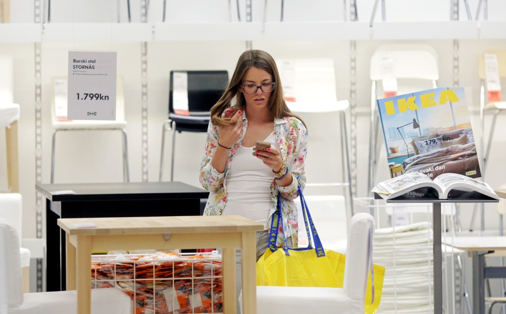 A customer shops at the newly opened IKEA store.