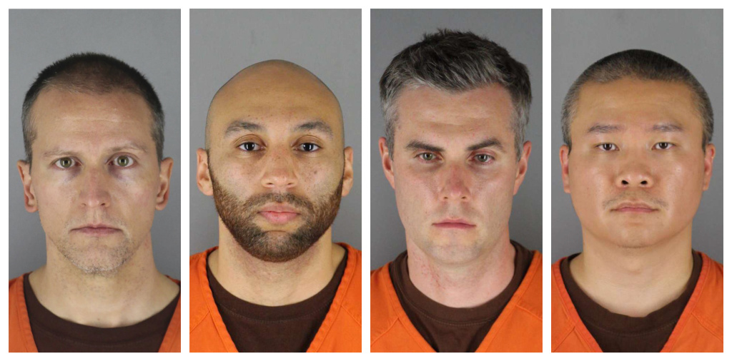 This combination of photos provided by the Hennepin County Sheriff's Office shows  (from left) Derek Chauvin,J. Alexander Kueng, Thomas Lane and Tou Thao. Lane's attorney on Wednesday filed a motion to dismiss charges against him.