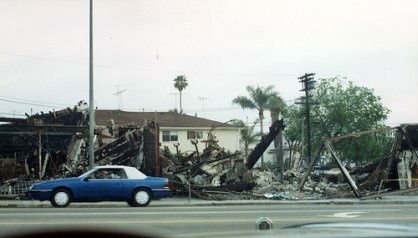 A demolished building taken during the LA Riots.