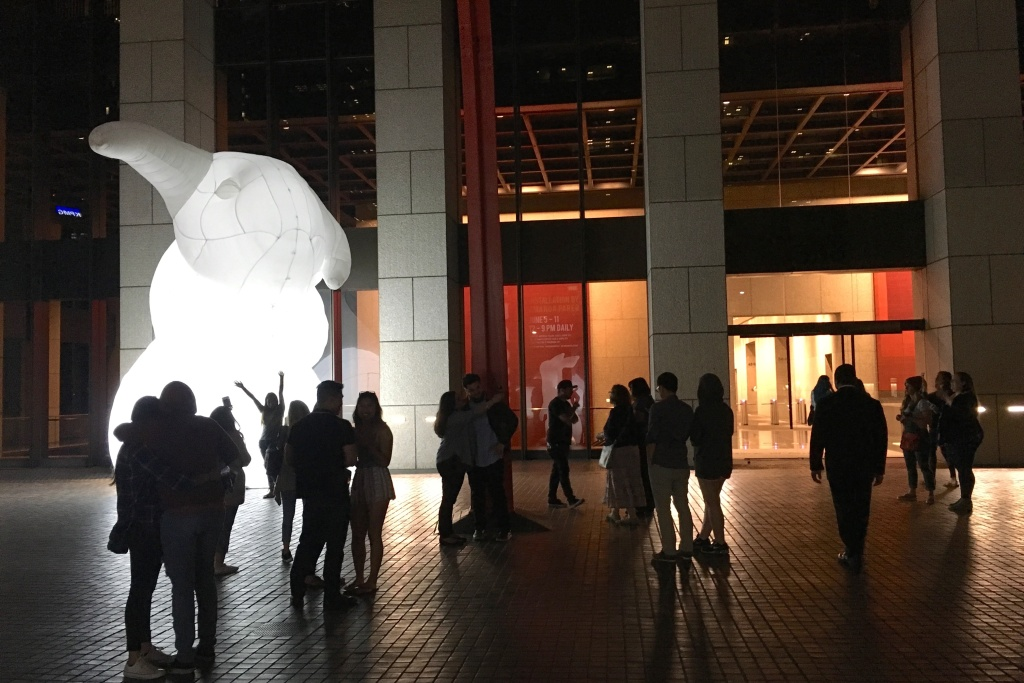 A giant inflatable rabbit greets Angelenos at the entrance to the Bank of America Building on Hope Street in downtown Los Angeles.