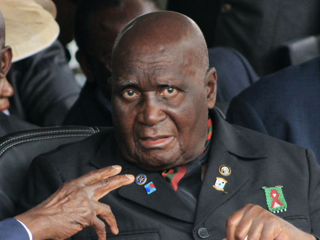 Former Zambian president, Kenneth Kaunda, attends the inauguration ceremony of the Patriotic Front's Edgar Lungu, in Lusaka. The country's first president, Kaunda, 97, was admitted to hospital on June 14, 2021, as the southern African country battles a surge in COVID-19.