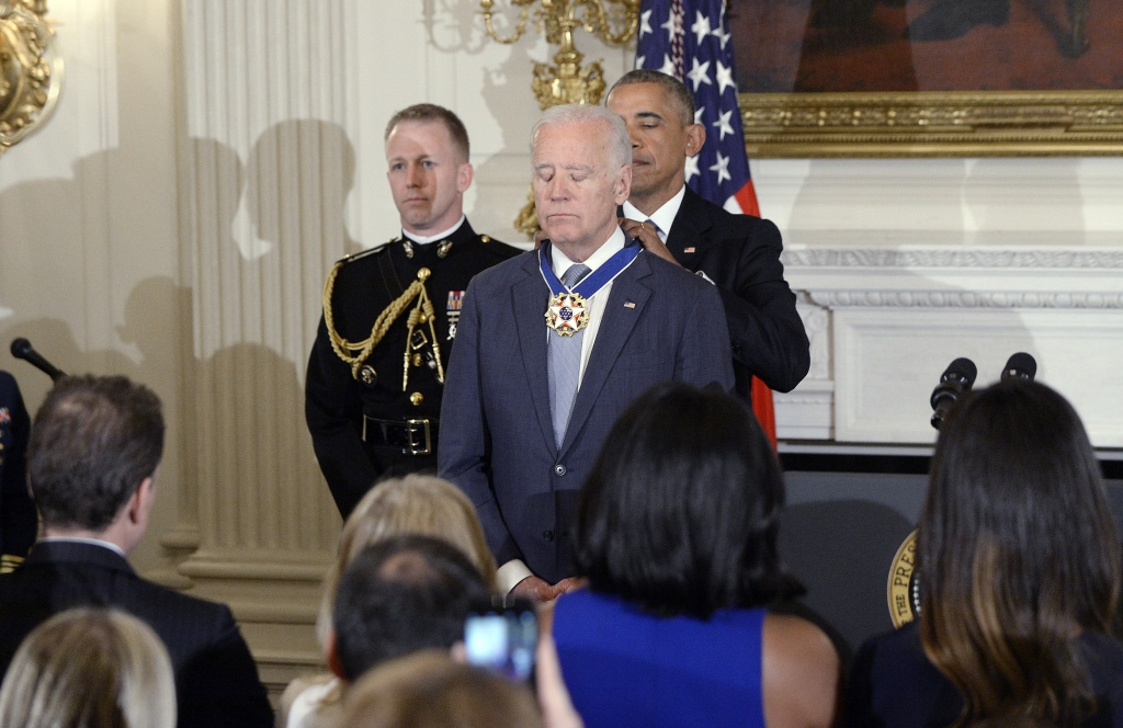 U.S. President Barack Obama presents the Medal of Freedom to Vice-President Joe Biden during an event in the State Dinning room of the White House, January 12, 2017 in Washington, DC.