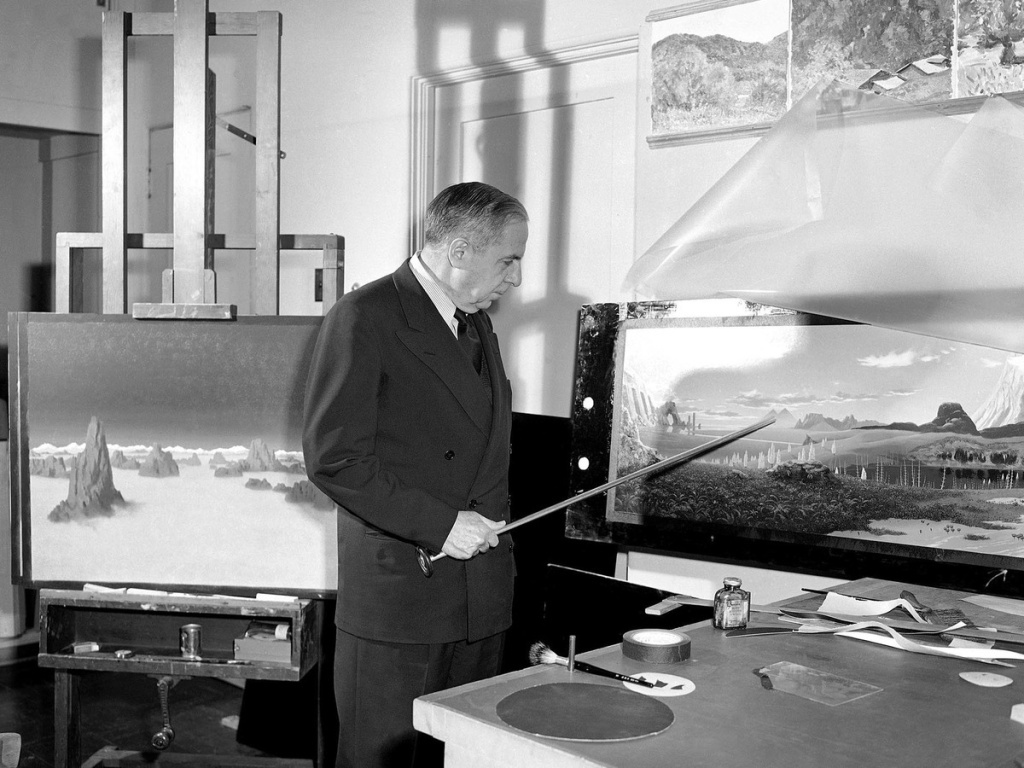 Chesley Bonestell, one of the world's leading astronomical artists, points out pyramids in 1951 on the planet