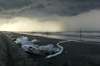 Bags of oil collected from the beach await pickup at Elmer's Island, Louisiana. (Photo by John Moore/Getty Images)