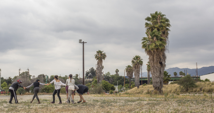 Taisha Paggett's WXPT dance group rehearses 'Evereachmore' along the banks of the LA River as part of Clockshop's Bowtie Project.