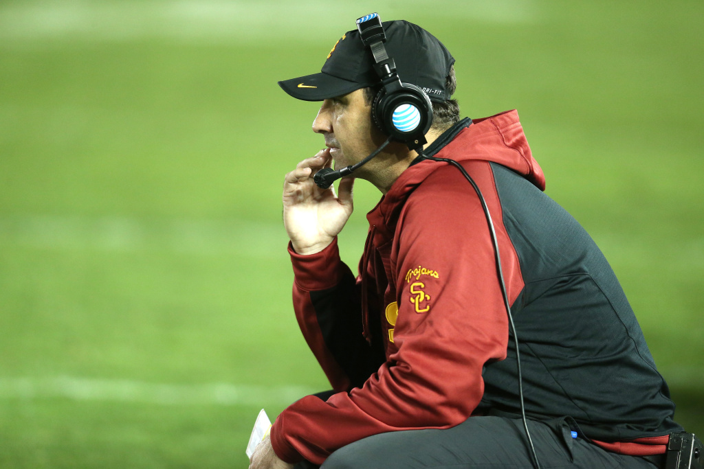 Head coach Steve Sarkisian of the USC Trojans looks on in the game against the UCLA Bruins at the Rose Bowl on November 22, 2014 in Pasadena, California.