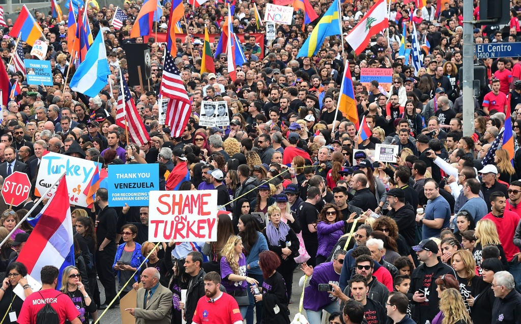 File: Tens of thousands of Armenian Americans take to the streets of Los Angeles on April 24, 2015, to march for justice and in memory of victims of the Armenian genocide. That event marked the centenary of the massacre of some 1.5 million Armenians by Ottoman forces.
