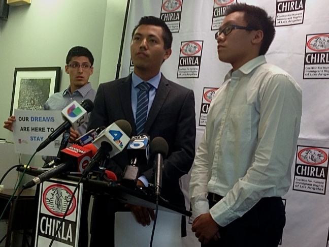 Dreamers Justino Mora, Pedro Trujillo and Sean Tan (l. to r.) speak out in defense of the Deferred Action for Childhood Arrivals at the headquarters of the Coalition for Humane Immigrant Rights of Los Angeles.