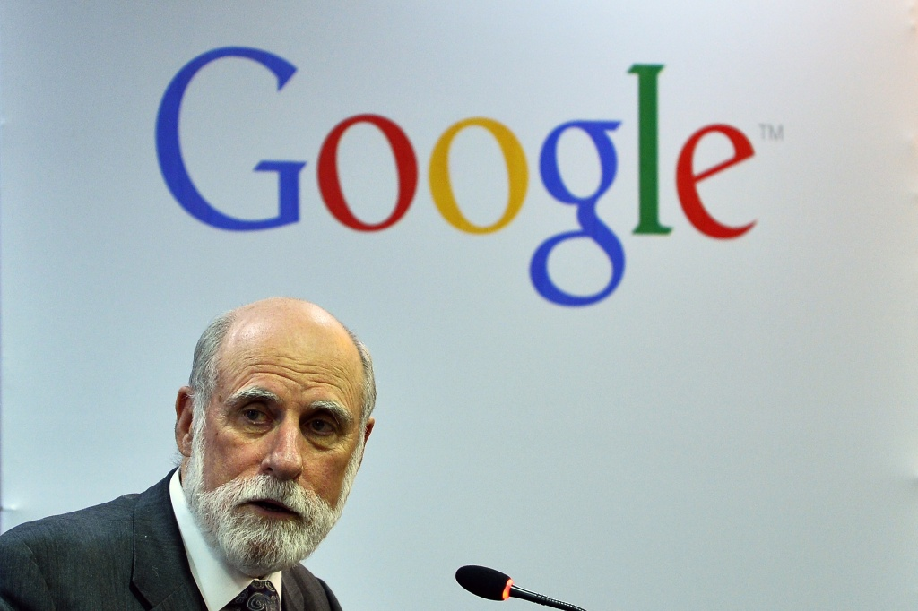 Vinton G. Cerf, Vice President and Chief Internet Evangelist of Google, speaks during an interactive session in New Delhi on January 6, 2015.