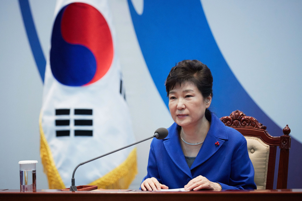 South Korea's President Park Geun-Hye attends the emergency cabinet meeting at the presidential office on December 9, 2016 in Seoul, South Korea.