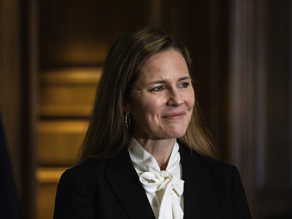 Judge Amy Coney Barrett, President Donald Trump's nominee for the U.S. Supreme Court, meets with Sen. Deb Fischer, R-Neb., on Capitol Hill ahead of her confirmation hearings.