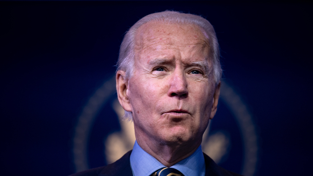 President-elect Joe Biden delivers remarks Monday in Wilmington, Del., after being briefed by members of his foreign policy and national security teams.