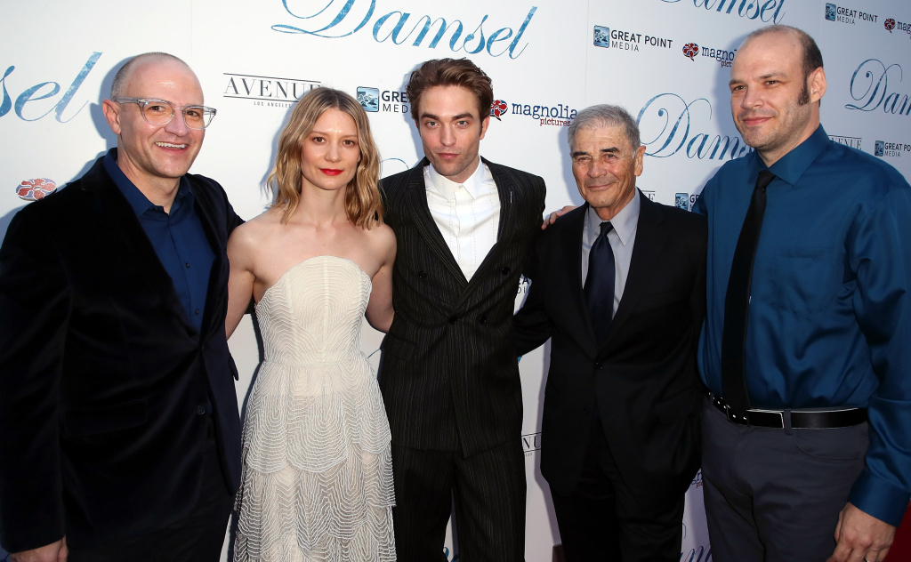 Director David Zellner, actors Mia Wasikowska, Robert Pattinson and Robert Forster and director Nathan Zellner attend Magnolia Pictures'