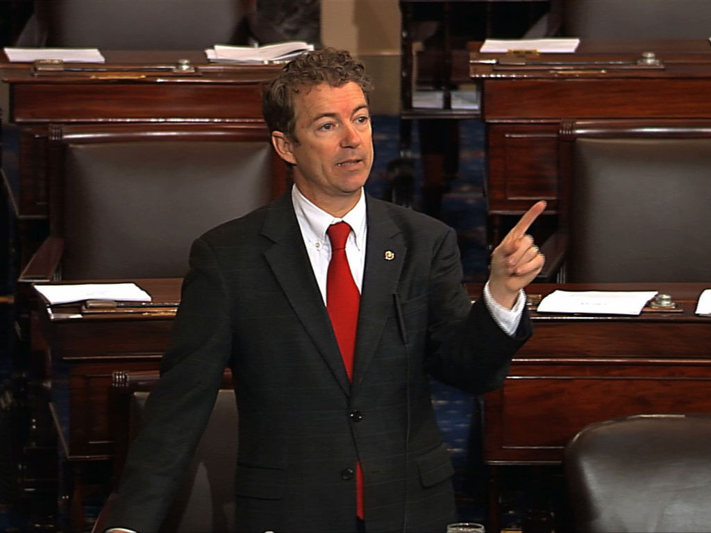 Sen. Rand Paul, R-Ky., during the March 6 filibuster of John Brennan's nomination to be CIA director.  Paul is scheduled to speak Thursday at CPAC.