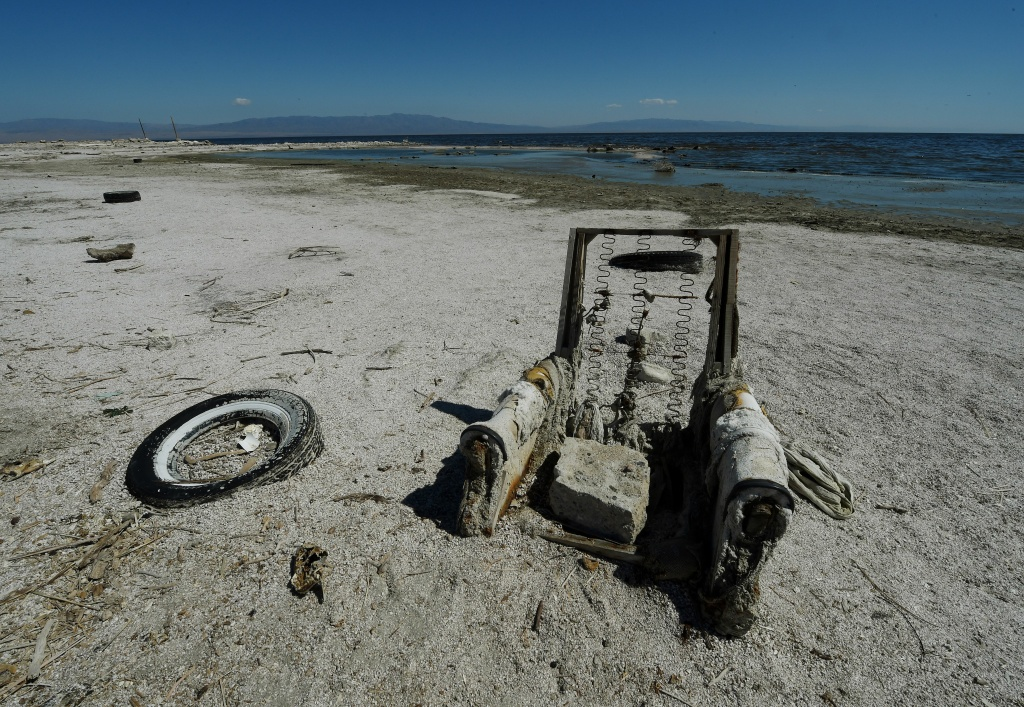 The remnants of an abandoned marina are seen at Salton City beside the Salton Sea on March 19, 2015.