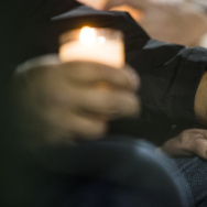 """Though we are a bankrupt city and now a terrorized city, we will not be beaten,"" San Bernardino City Attorney Gary Saenz said during a vigil at San Manuel Stadium in San Bernardino on Thursday night, Dec. 3, 2015 following a mass shooting that left 14 people dead and 21 injured on Wednesday at the Inland Regional Center."