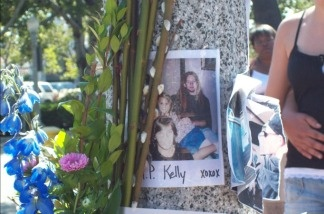 A memorial for Kelly Thomas, the 37-year-old homeless man who died in July after he was beaten by Fullerton police.